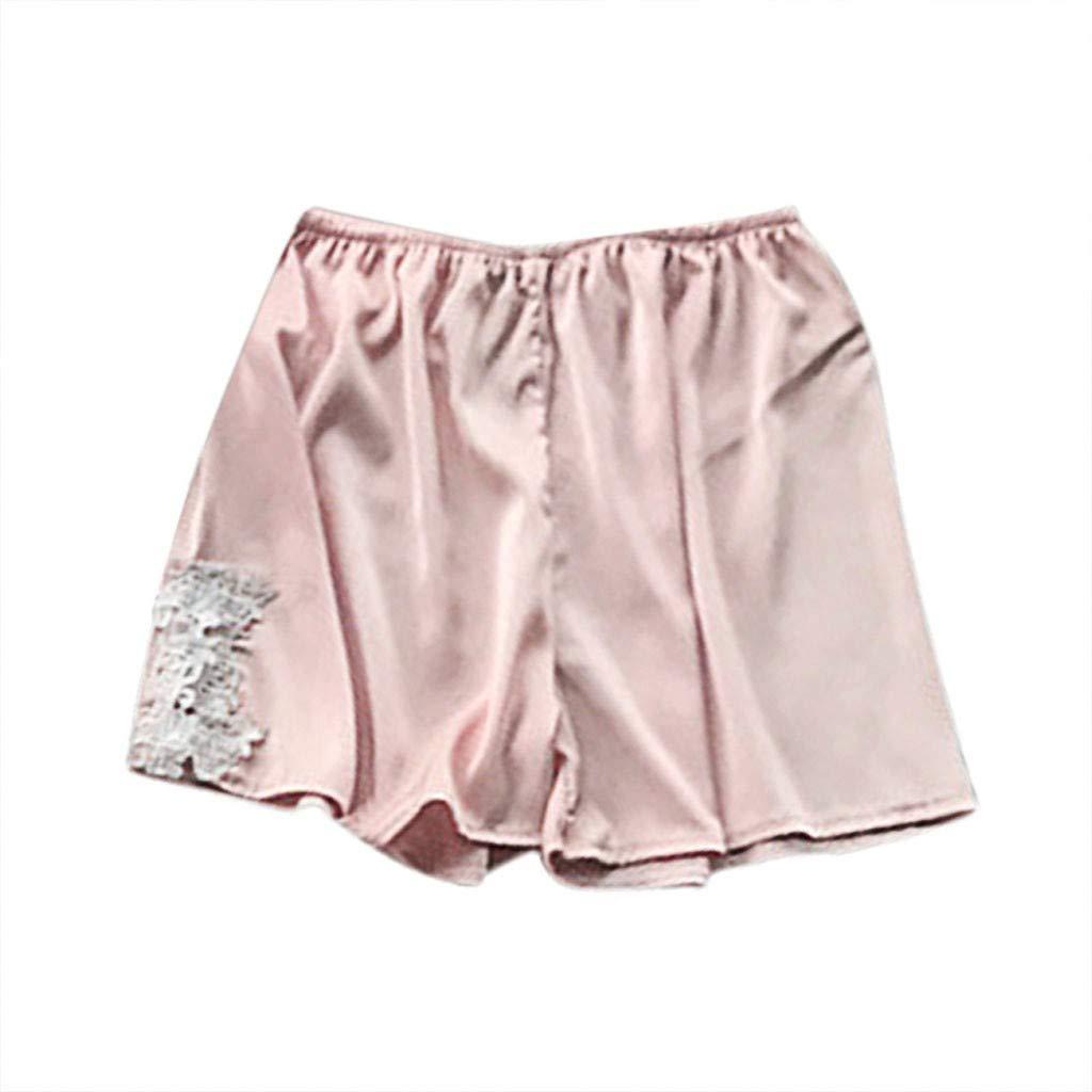 Women's Sexy Plus Size Sleep Shorts Stain Lace Babydoll Short Pants Silk Temptation Parjamas Nightgown Sleepdress S-3XL (Pink, S)