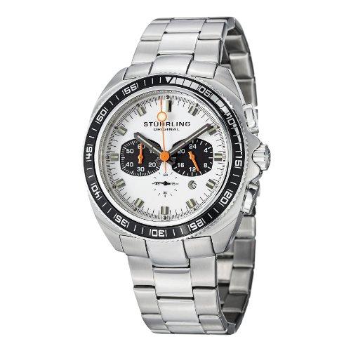 (Stuhrling Original Men's 586B.01 Octane Concorso Japanese Quartz Chronograph Date Stainless Steel Link Bracelet Watch)
