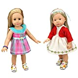 2 Sets Adorable Baby Doll Clothes Dress Vintage Grids with Dot Doll Dresses for 14-16 Inches American Girl Dolls