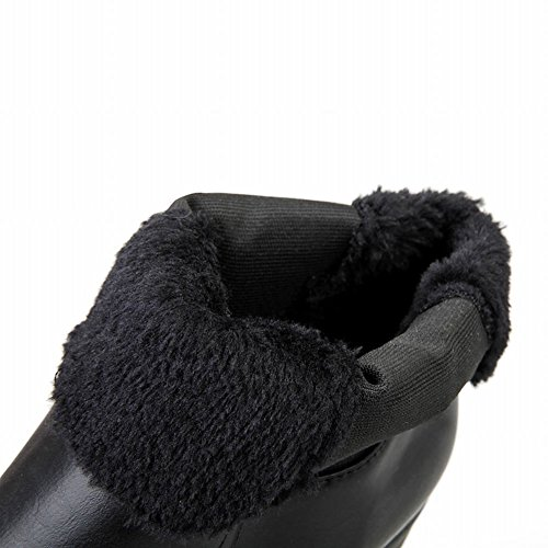 Carolbar Womens Fashion Vintage Retro Buckles Bungee Platform High Heel Short Boots Black Ruiqq8MF