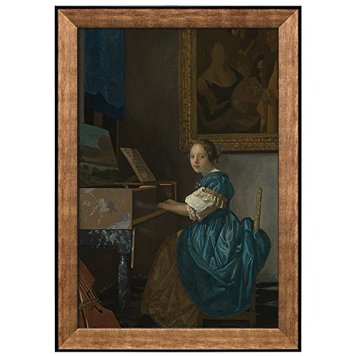 A Lady Seated at a Virginal by Johannes Vermeer Framed Art