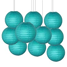 Furuix 10 pcs Teal 8inch Paper Lanterns Mixed Package for Teal Themed Party Wedding, Bridal Shower Decor Teal Baby Shower Decoration Room and Family Picnic Decoration (Teal)