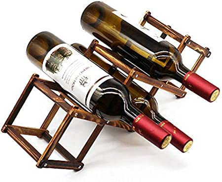 ZZWBOX Estante para Botellas de Vino,Botelleros de Madera para Vino u Otras Bebidas,Vinoteca de Madera para 5/6/10 Botellas