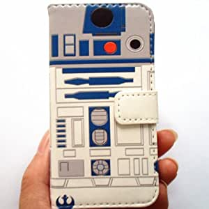 R2D2 Robot Pattern Slim Wallet Card Flip Stand Leather Pouch Case Cover For Apple iphone 4 4s - Cool as Great Xmas Gift