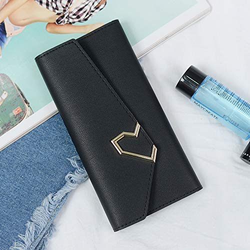 Wallet Female New Korean Version of The Tide Long Paragraph Purse Metal Decoration MultiCard Position Clutch Bag Large Capacity (color   Pink) Ladies Purses (color   Black)