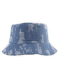 ZLYC Unisex Washed Cotton Denim Bucket hat Sun hat Fishman Cap
