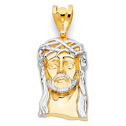 Ioka - 14K Two Tone Gold Religious Jesus Christ Head Charm Pendant For Necklace or Chain