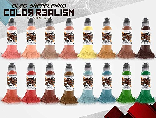 ism Color 16 Bottle Set - World Famous Tattoo Ink - 1oz ()