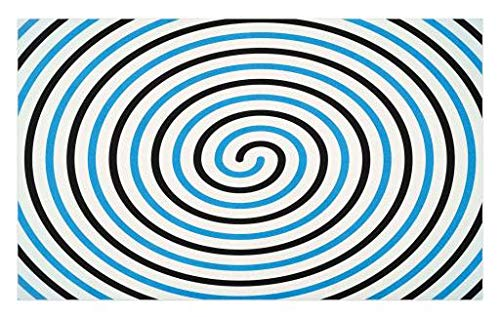 Lunarable Spires Doormat, Turning Curve Winds Fixed at Center Spiral Conic Helix Figure Hypnotic Image, Decorative Polyester Floor Mat with Non-Skid Backing, 30 W X 18 L inches, Blue and Black