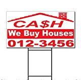 we buy houses - Cash We Buy Houses Phone Custom Corrugated Plastic Yard Sign /Free Stakes Two Sides Print 18 x 24