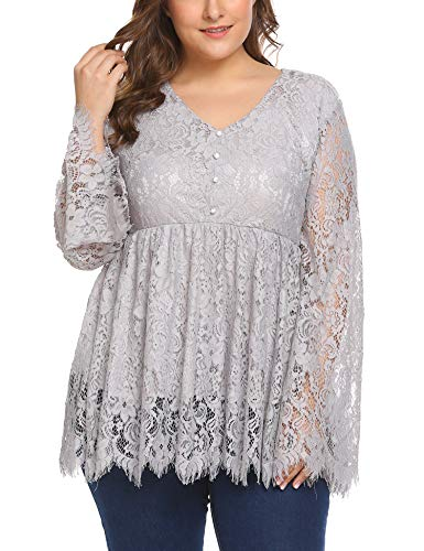 Women's Plus Size V-Neck Long Sleeve Ruffle Puff Sleeve Lace Blouse ()