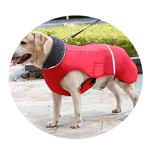 Fanatical-Night Winter Waterproof Outdoor Pet Dog Jacket Thicken Warm Dog Coat for Dog Adjustable Pet Clothes 3XL,red,S -