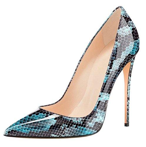 Bleu Soiree python Edefs Chaussures Aiguille Talon Escarpins Fermé Sexy Club Femme Bout 0qvPS1