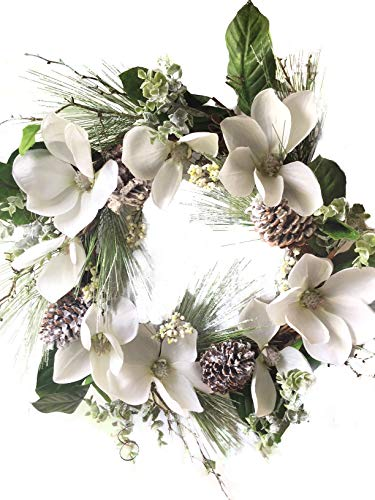 Frosted Winter White Christmas Magnolia Wreath with Pine Cones Berries 22 Inch for Front Door Wreath Decoration Indoor Outdoor Wedding Decorating