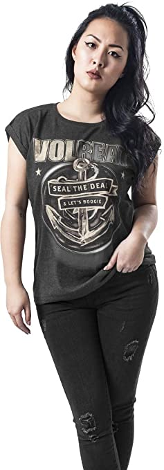 TALLA S. MERCHCODE Ladies Volbeat Seal The Deal tee - 1012_t-Shirt - Camiseta de Manga Corta Mujer