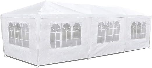 McHaus Careve - Carpa jardín impermeable de 3 x 9 m para eventos 8 paredes con ventana, color blanco: Amazon.es: Jardín