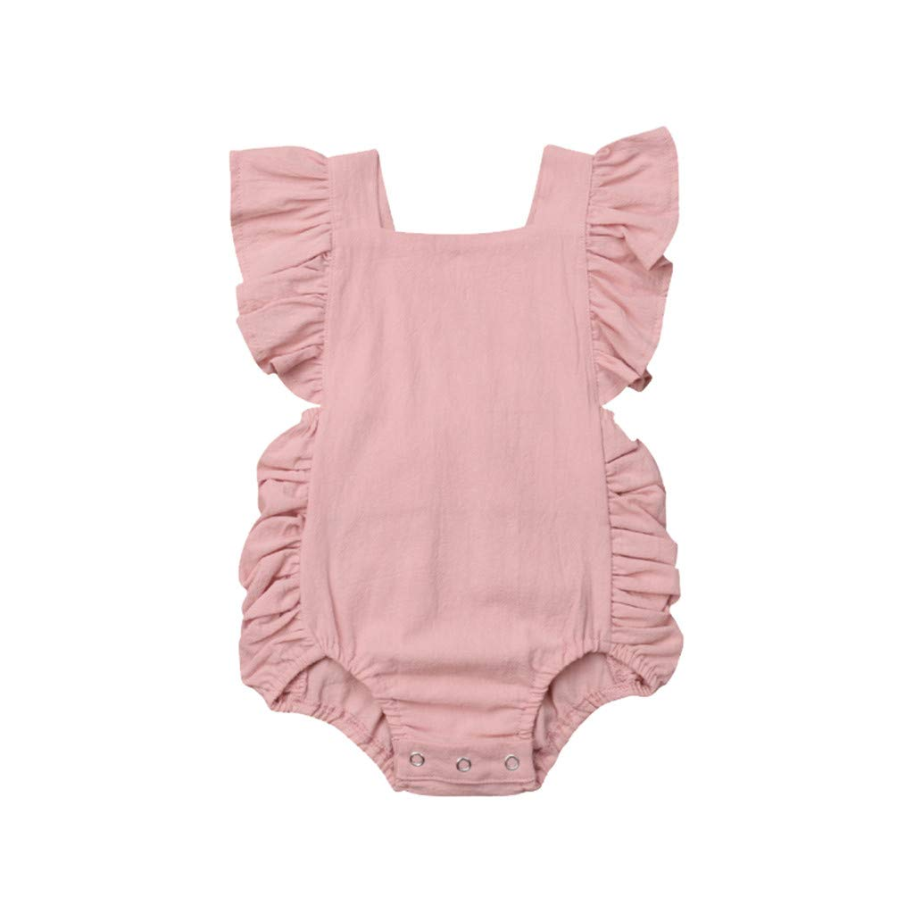 NUWFOR Summer Newborn Baby Boys Girls Ruffle Solid Romper Bodysuit Jumpsuit Clothes(Pink,18-24Months)