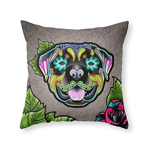 Rottweiler Day of The Dead Sugar Skull Dog Cotton Square Decorative Throw Pillow Case Cover Cushion Cover Great Home Decor Gift 18X18 inch