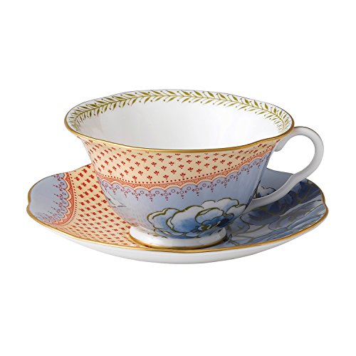Wedgwood Harlequin Butterfly Bloom Teacup and Saucer Set, Blue Peony (Tea Peony Saucer)