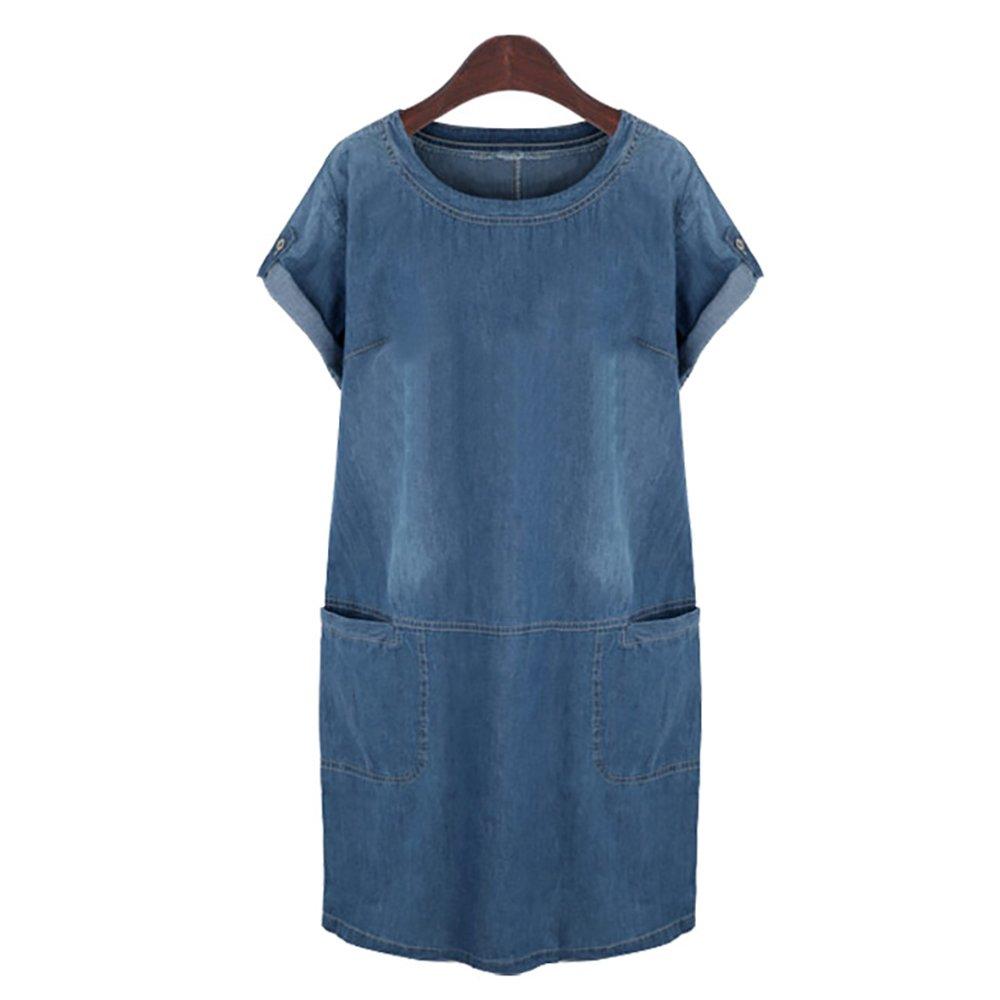 HUIMEIDE Damen Sommer Sling Jeanskleid Große Größe Jerseykleid Freizeitkleid Beiläufige Blusenkleid Denim Sommerkleid Strandkleid