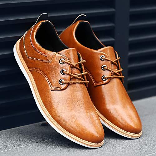 Giallo traspirante Derby Plain stringate casual Qiusa Dimensione Uomo Toe 40 Marrone Scarpe guida Business EU Colore 4qpwZ1n