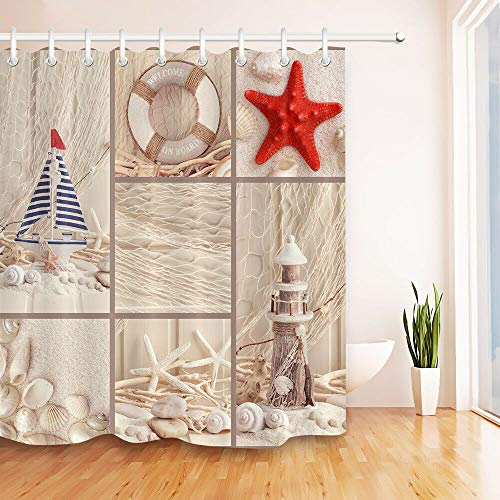youyoutang Shower Curtain Waterproof Fabric Summer Sea Shell Starfish Lighthouse 3D High-Definition Printing Does Not Fade 12 Shower Hooks 70.8X70.8 Inch Home Decor Bathroom ()