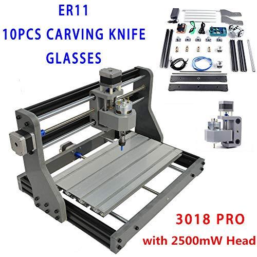 CNC 3018 GRBL Control Engraving Machine, 3 Axis DIY Router Kit Desktop PCB PVC Plastic Acrylic Wood Carving Milling, XYZ Working Area 300x180x45mm (CNC 3018 + 2500mW Head)
