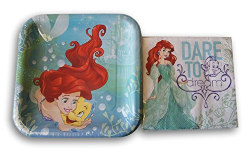 Disney Princess Ariel The Little Mermaid Party Supply Kit - Napkins and Plates -