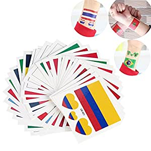 2018 FIFA World Cup 32 Teams Waterproof Disposable National Flag Tattoo Body Stickers Face Arm Wall-32 Pcs