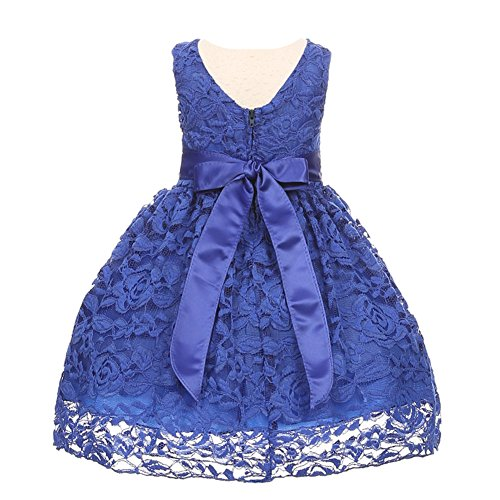 ba73f46b43aa Baby Girls Royal Blue Rose Lace Overlay Beaded Waist Christmas Dress ...