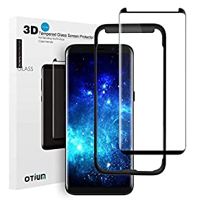 Galaxy S8 Plus Tempered Glass Screen Protector with Installation Tray 3D Curved, Otium Invisible Glue Mark, 100% Touch Sensitivity, Case Friendly, Bubble Free, for Galaxy S8 Plus 6.2 from Otium