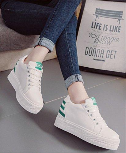 Décontractées Lacets Sneakers Chaussures Montante Compensee Femme Confort Blanche Mauea Cuir Sport Basket Tennis agqz0z