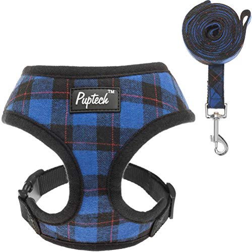 PUPTECK Soft Mesh Dog Harness with Leash - Plaid Adjustable Puppy No Pull Harnesses - Pet Padded Walking Vest Blue Extra Small