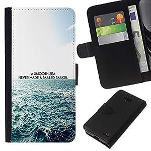 KingStore / Leather Etui en cuir / LG OPTIMUS L90 / Suave Mar buenos marineros Cita Waves Vida