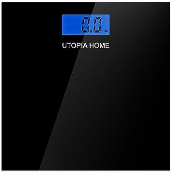 Utopia Home báscula de baño de vidrio digital con vidrio templado grueso: Amazon.es: Salud y cuidado personal