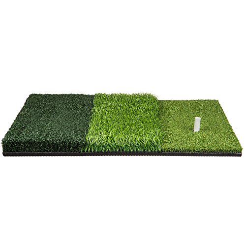 Golf Hitting Mat 25 x 16 Three Turf Types with Rubber Tee