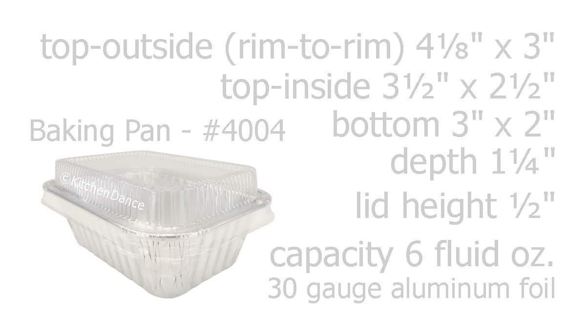 KitchenDance Disposable Aluminum Mini 6 Ounce Individual Sized Loaf Pans #4004 Color & Lid Options (Silver -with Lids, 100) by KitchenDance.com (Image #2)