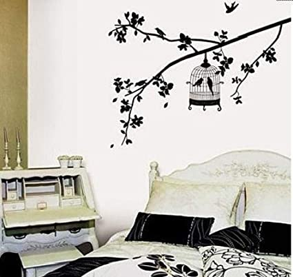 Amazon.com: Birdcage Hanging on Tree Branch Wall Decal Removable ...