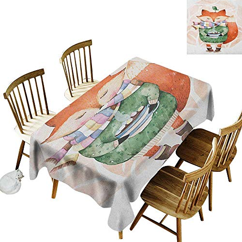kangkaishi Iron-Free Anti-fouling Holiday Long Tablecloth Table decorationCute Little Fox Wants to Drink Coffee with Its Bird Friend W14 x L72 Inch Pale Pink Jade Green Orange
