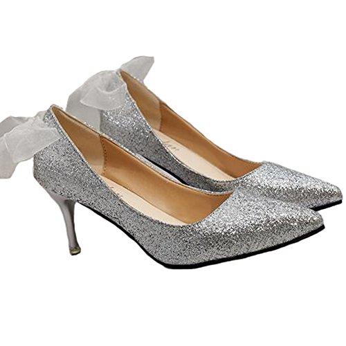 Angelliu Moda Donna Bling Paillettes Stiletto Scarpe Col Tacco Medio Sandali Con Decorazioni In Nastro Scarpe Da Sposa Argento