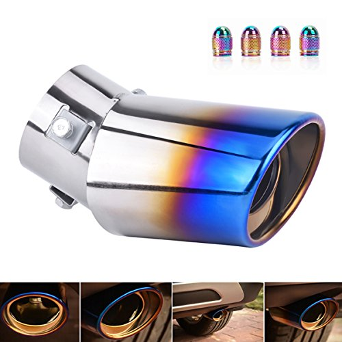 DSYCAR Universal Stainless Steel Car Exhaust Tail Muffler Tip Pipe Fit Pipes - Fit pipe Diameter 1.5 to 2.3 in - And Free 4 Valve Stem Caps