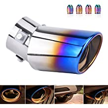 DSYCAR Universal Stainless Steel Car Exhaust Tail Tip Pipe Cover - Fit pipe Diameter 1 1/2 inch to 2 1/4 inch - And Free 4 Valve Stem Caps (Curved:5.5'' X 3.4'')
