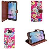 SAMSUNG GALAXY S7 EDGE CLASSIC DEMI JEAN PINK CASE WITH MULTICOLOUR FLOWER DESIGN STYLE WALLET BOOK FLIP CASE COVER POUCH FROM GADGET BOXX