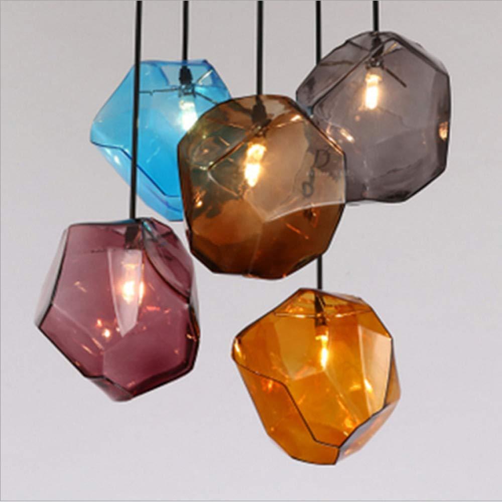 Einfache Stein Glas Pendelleuchte Bunte Innen G4 LED Lampe Das Restaurant Esszimmer   Bar Café   Shop Beleuchtung Fixture   AC110-265,Amber,D225mmh250mm