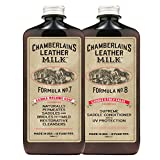 Leather Milk Saddle & Tack Leather Restoration Kit - Saddle Soap No. 7 + Saddle Conditioner No. 8 - All Natural, Non-Toxic. Dye & Scent Free. Made in the USA. Includes 2 Restoration Sponge Pads!