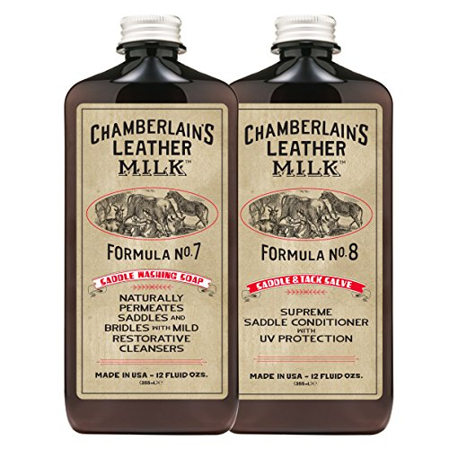 Leather Milk Saddle & Tack Leather Restoration Kit - Saddle Soap No. 7 + Saddle Conditioner No. 8 - All Natural, Non-Toxic. Dye & Scent Free. Made in the USA. Includes 2 Restoration Sponge Pads! -
