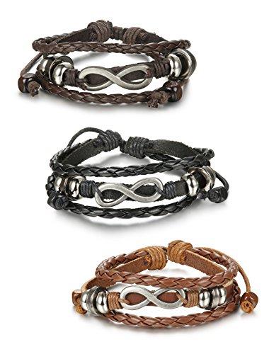 FIBO Steel 3 Pcs Leather Charm Bracelets for Men Women Braided Cuff Bracelet,Adjustable 7-11 Inches (Braided Bracelet Cuff)