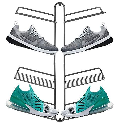mDesign Modern Metal Shoe Organizer Display & Storage Shelf Rack - Hang & Store Your Collection of Kicks, Running, Basketball, Trainers, Tennis Shoes, 4 Tier, Holds 8 Shoes, Wall Mount - Graphite Gray (Wall Racks Closets For Shoe Mounted)