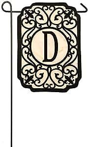 BoutiqueHome Evergreen Filigree Monogram D Applique bandera de jardín, pulgadas