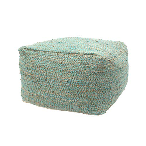 (Great Deal Furniture 307632 Grace Large Square Casual Pouf, Boho, Aqua and Beige Hemp and Cotton,)